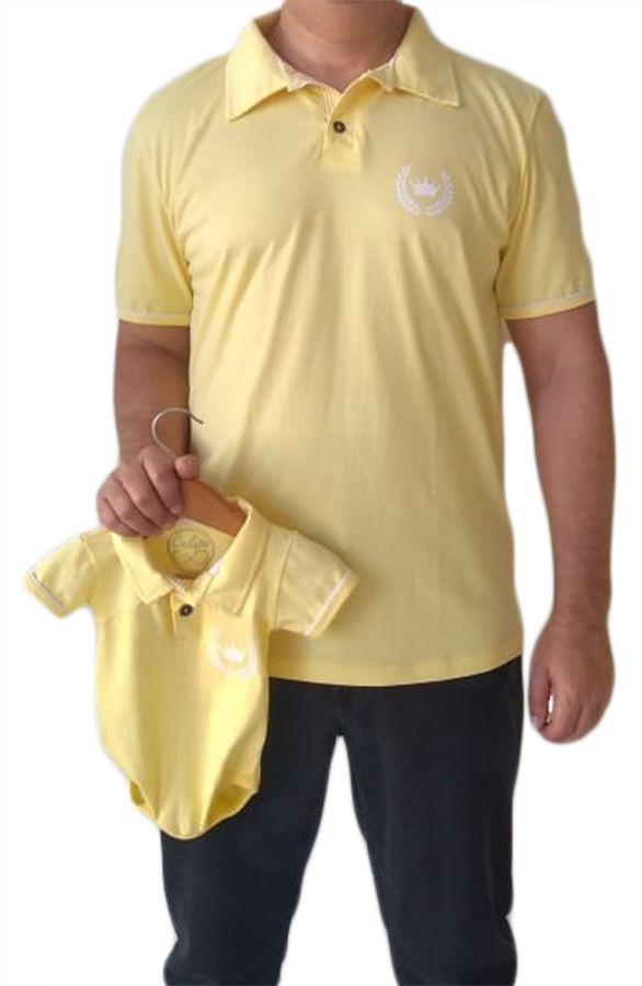 Polo adulta masculina e body de bebê unissex
