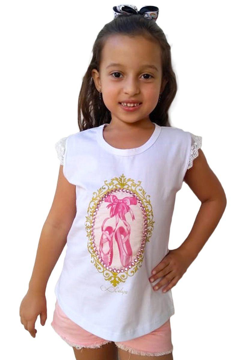 Regata infantil feminina bordada sapatilhas bailarina