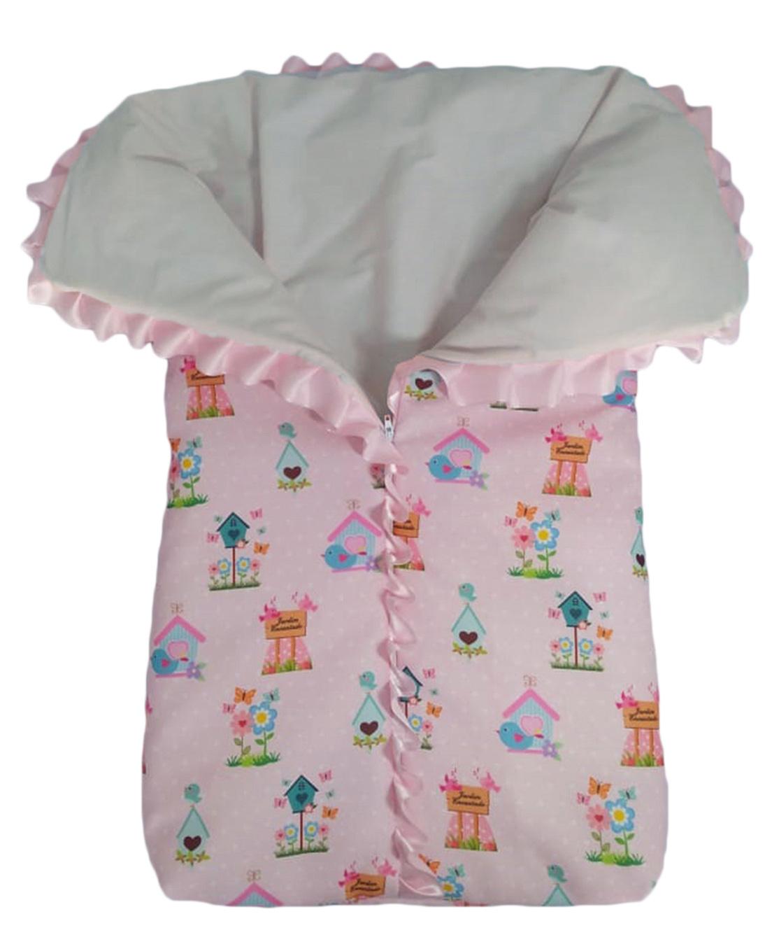 Saco de dormir para bebê com zíper estampa jardim encantado