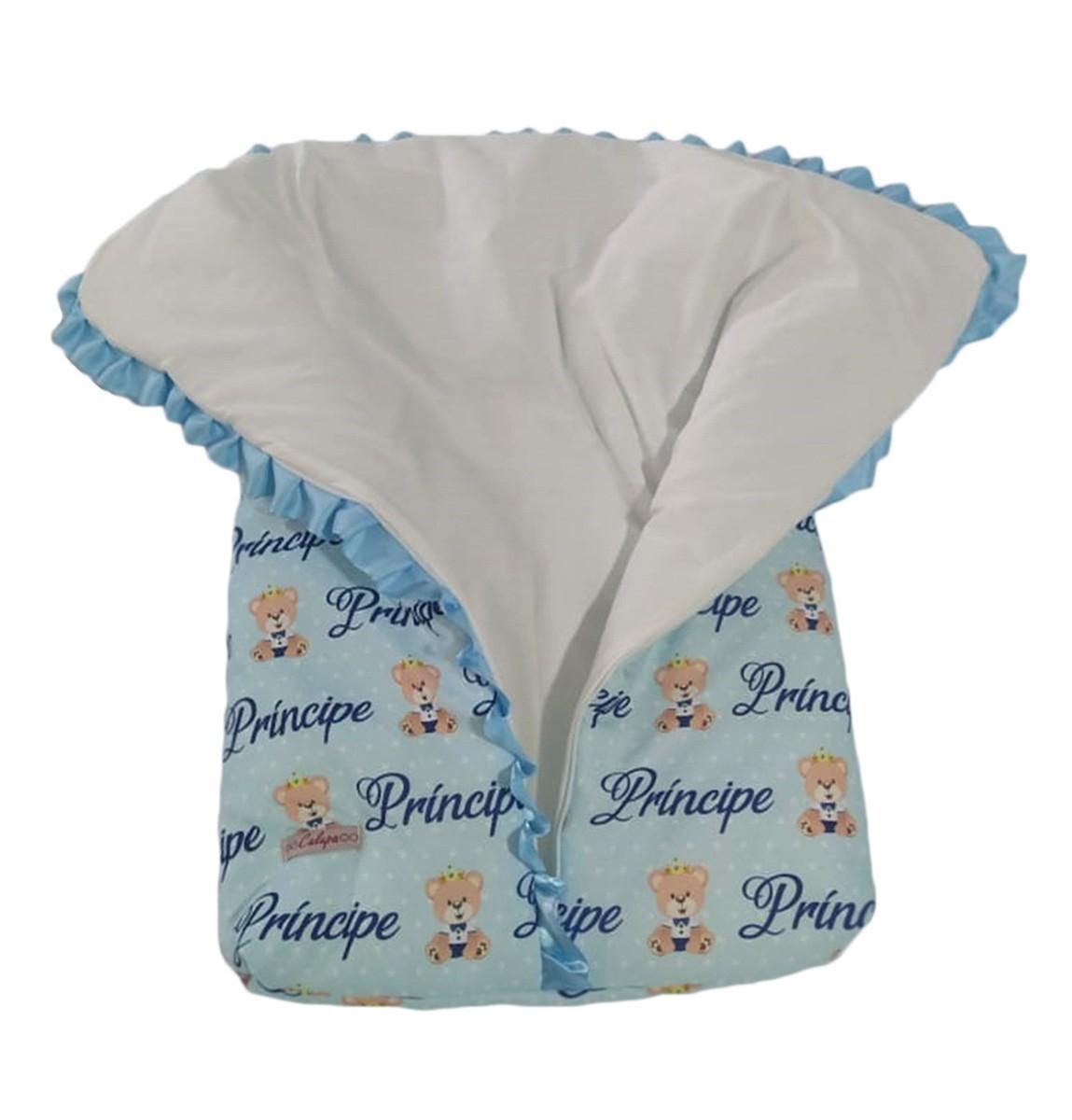 Saco de Dormir para Bebê com Ziper Estampa Ursinho Príncipe