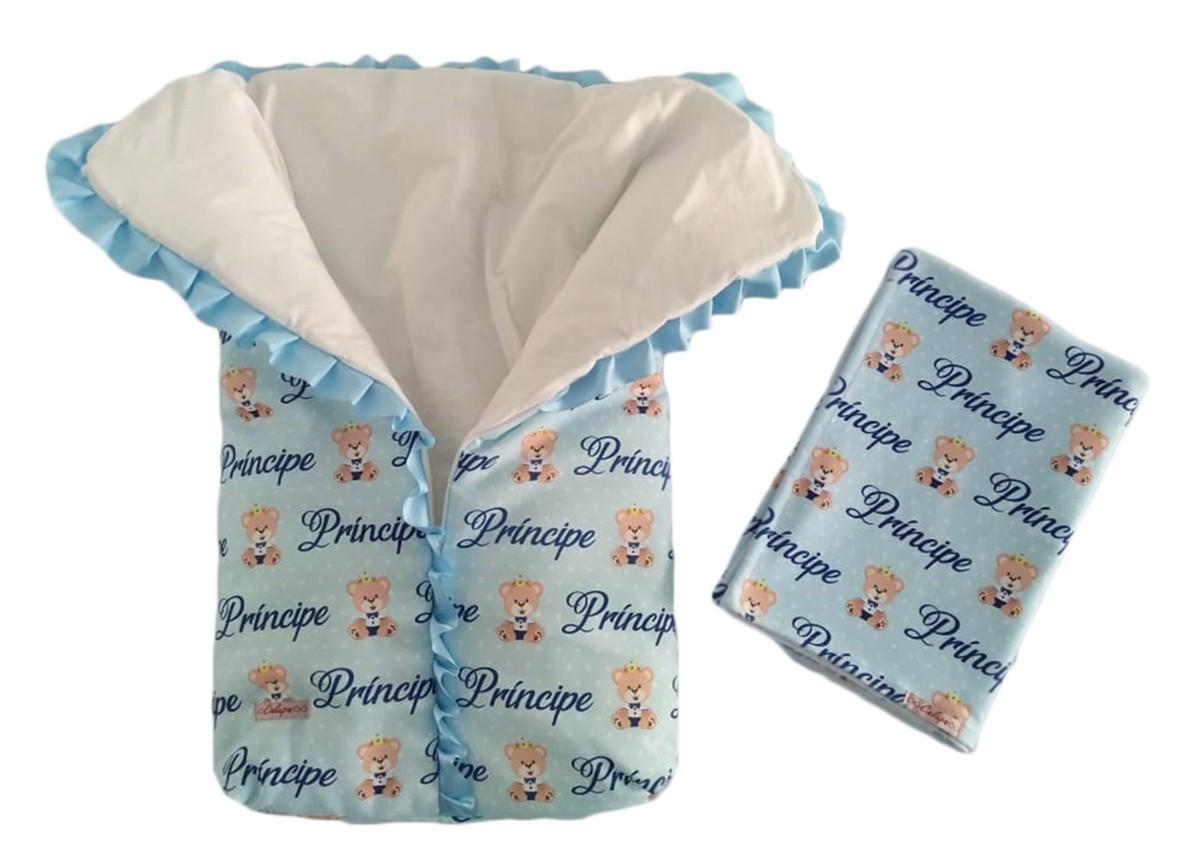 Kit maternidade saco de dormir bebê e manta cobertor ursinho príncipe