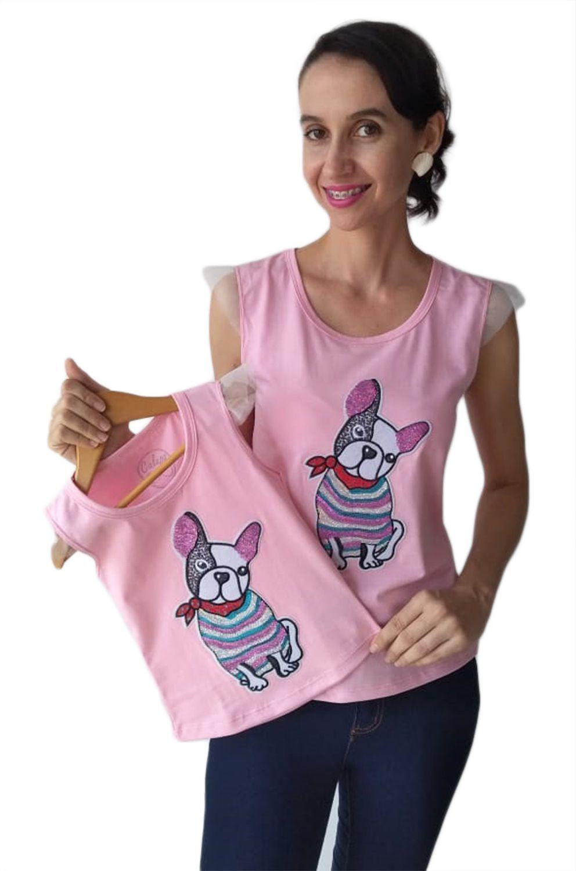 T-shirt blusa adulta e infantil feminina cachorrinho paetê