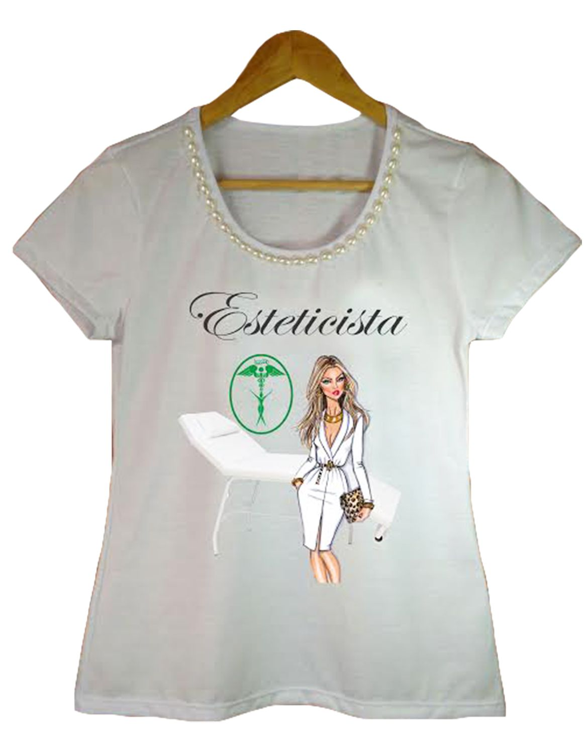 Camiseta t-shirt adulta feminina bordada esteticista
