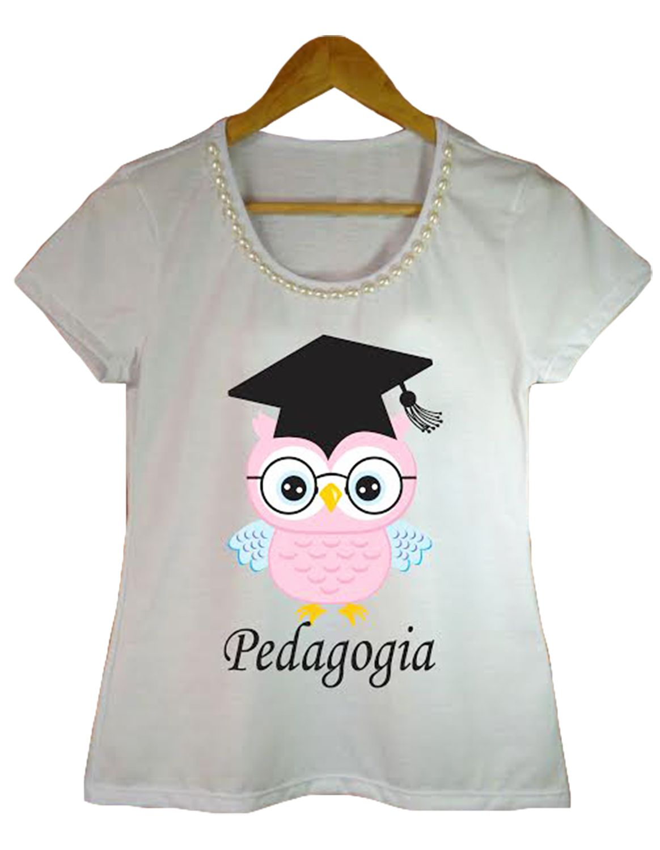 Camiseta t-shirt adulta feminina bordada pedagogia