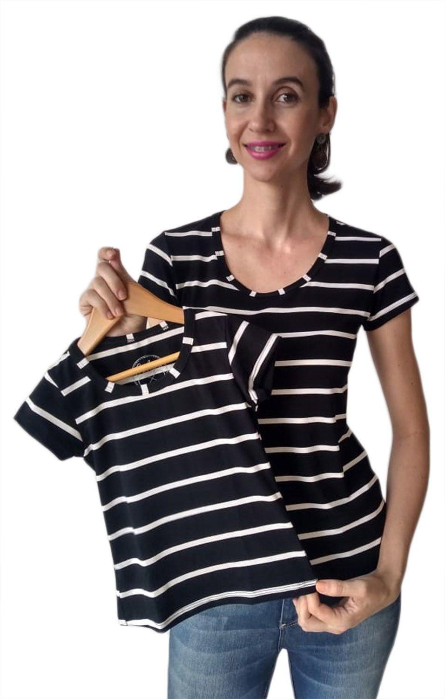 T-shirt blusa adulta e infantil femininas listradas