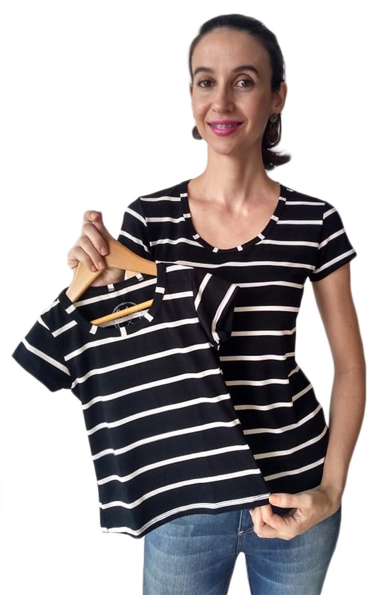 Blusa Adulta e Infantil Listrada Tal Mãe Tal Filha