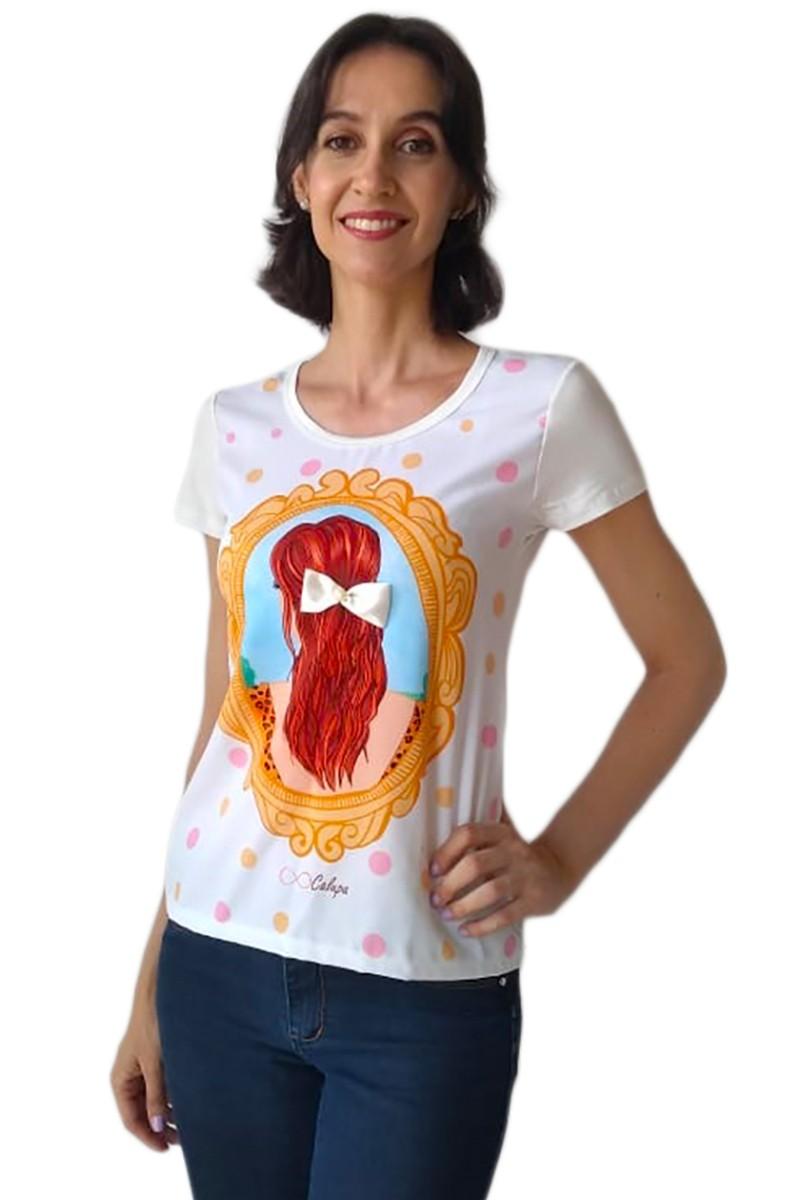 T-shirt blusa adulta feminina estampa menina laço