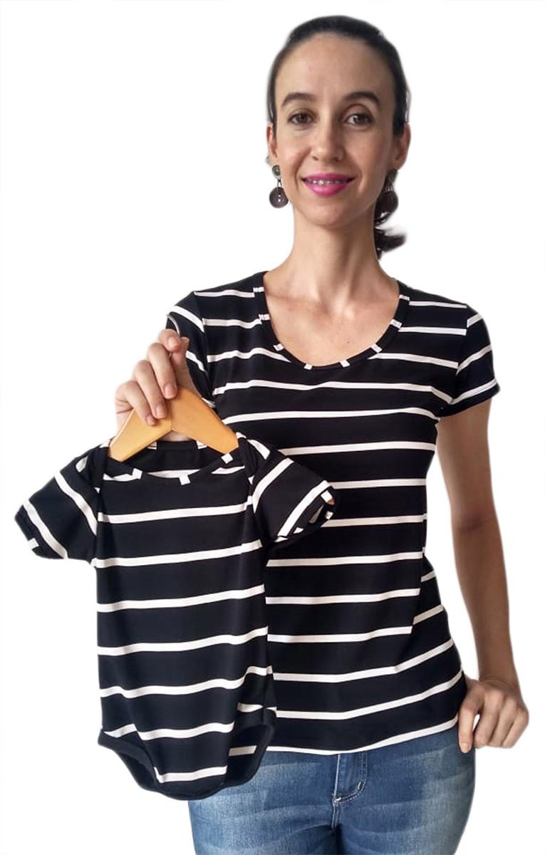 Blusa Adulta Feminina Listrada e Body de Bebê Tal Mãe Tal Filha