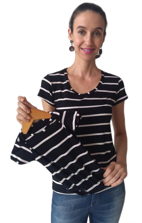 T-shirt blusa adulta feminina listrada e body de bebê