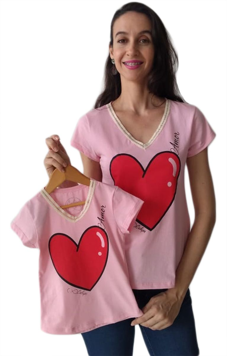 T-shirt camiseta adulta e infantil feminina amor Tal mãe e tal filha