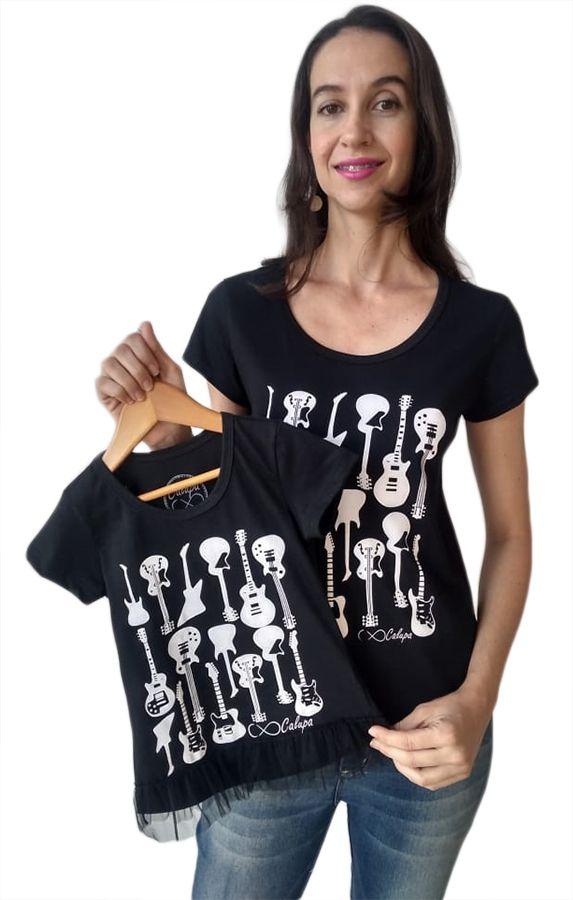 T-shirt camiseta adulta e infantil femininas guitarras