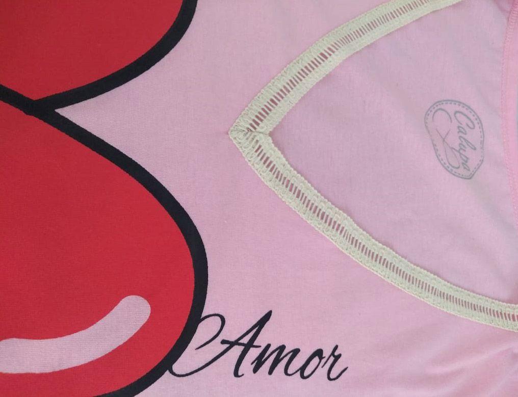 T-shirt camiseta adulta feminina amor com detalhe de renda