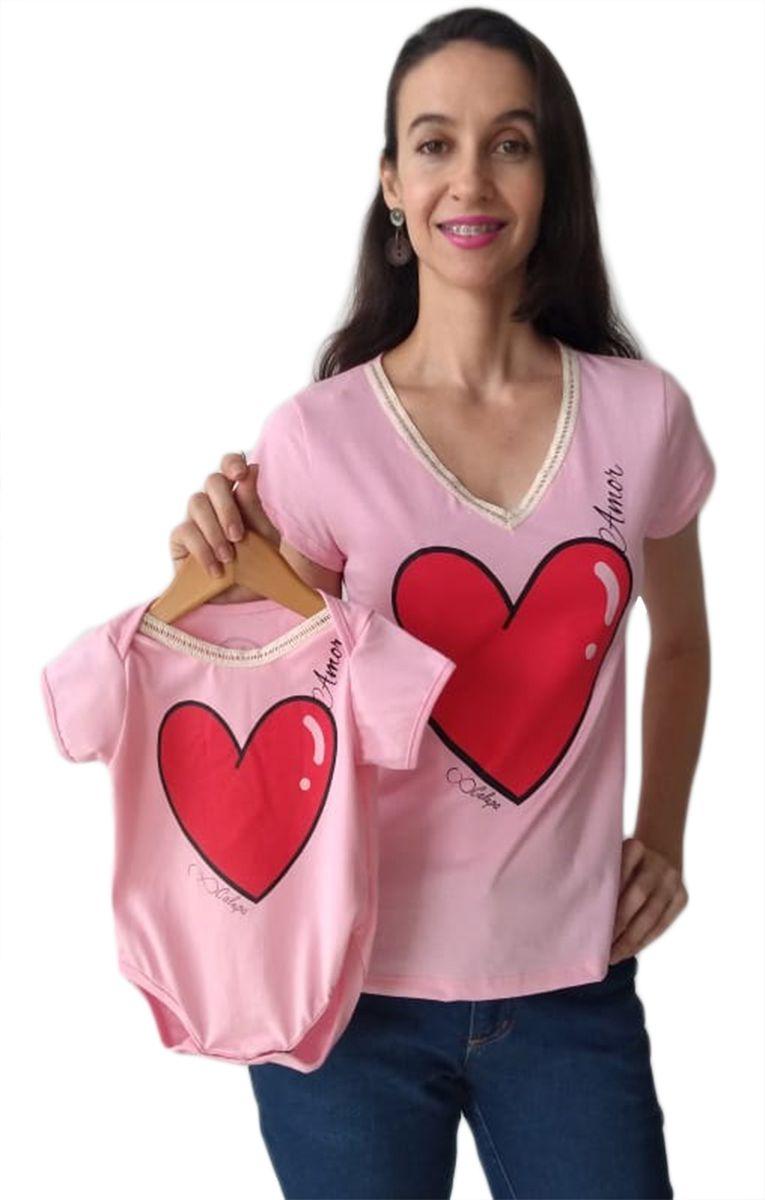 T-shirt camiseta adulta feminina e body de bebê amor Tal mãe e tal filha