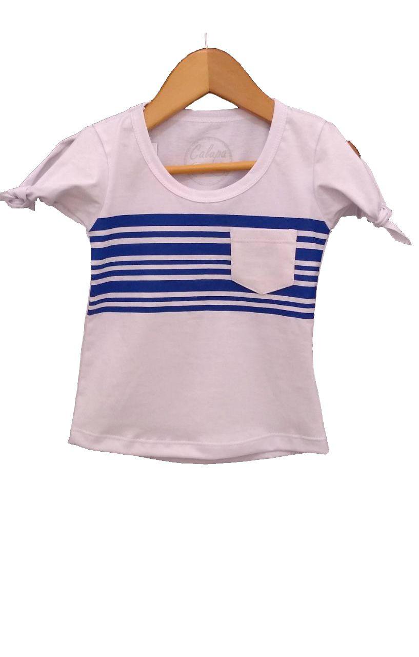 T-shirt infantil fem com bolso listrada