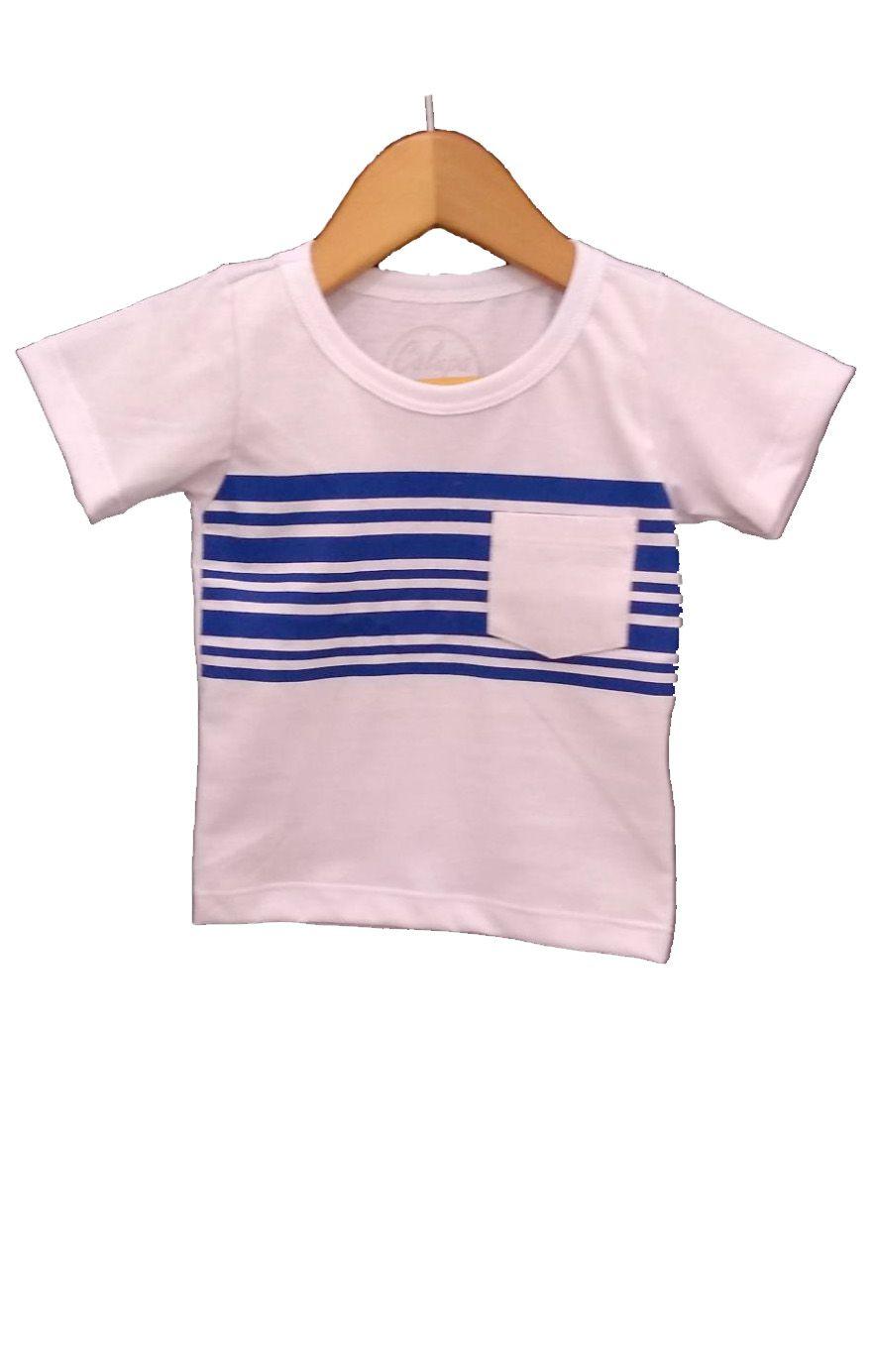 T-shirt infantil mas com bolso listrada