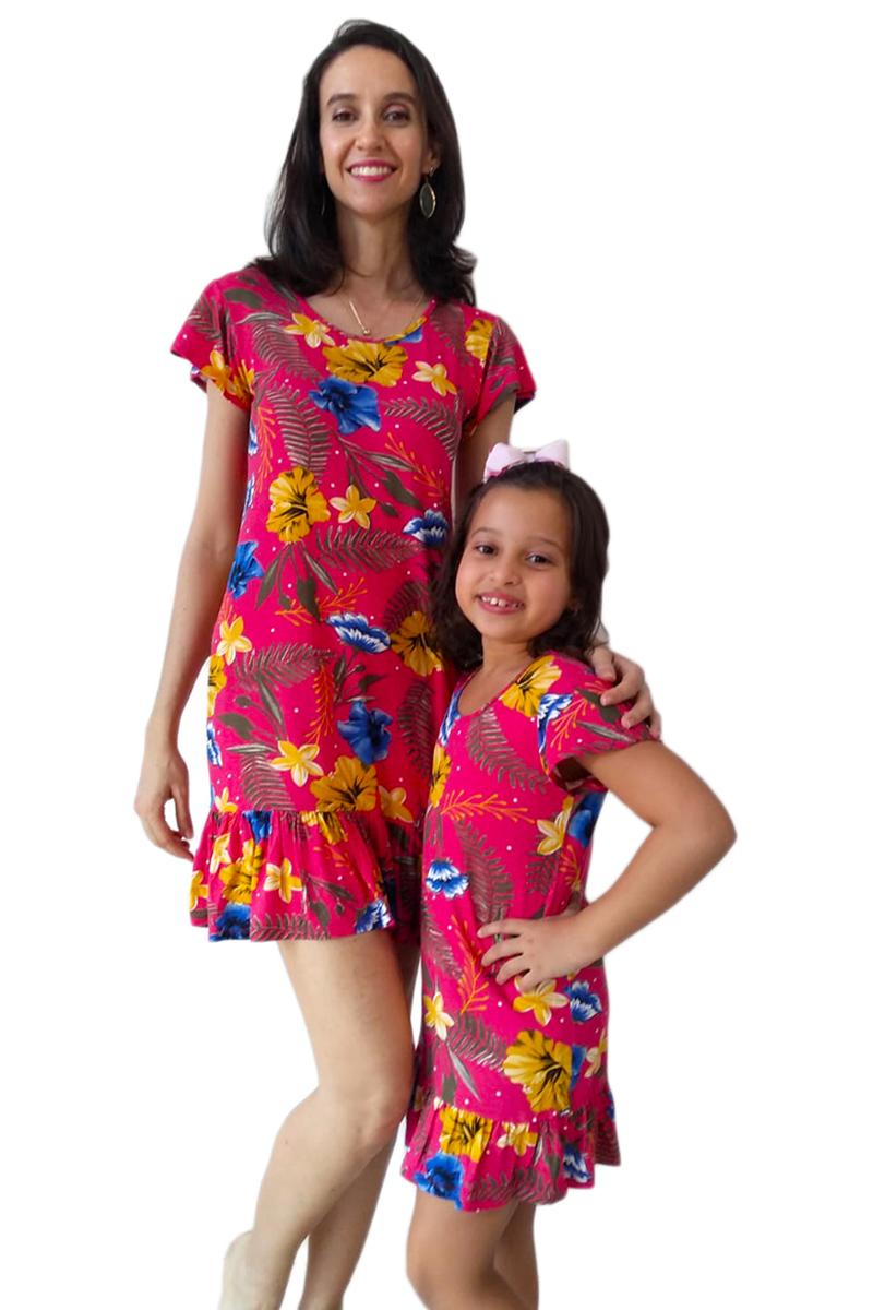 Vestido Adulto e Infantil Floral com Babado Tal Mãe Tal Filha