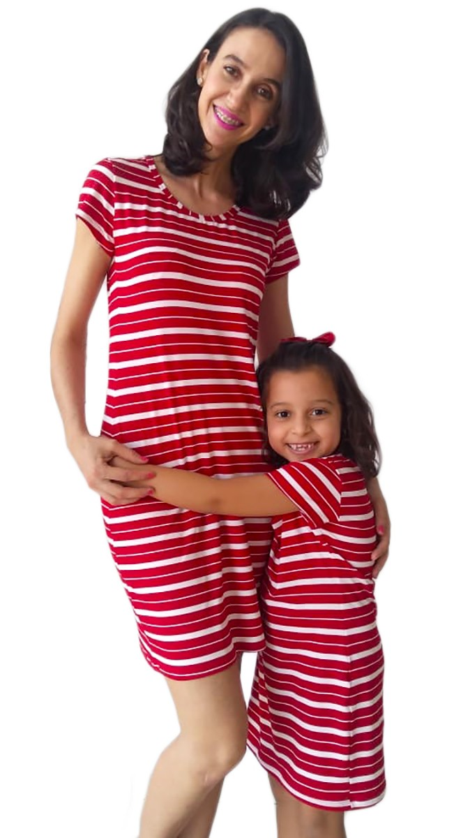 Vestido adulto e infantil listrado Tal mãe tal filha