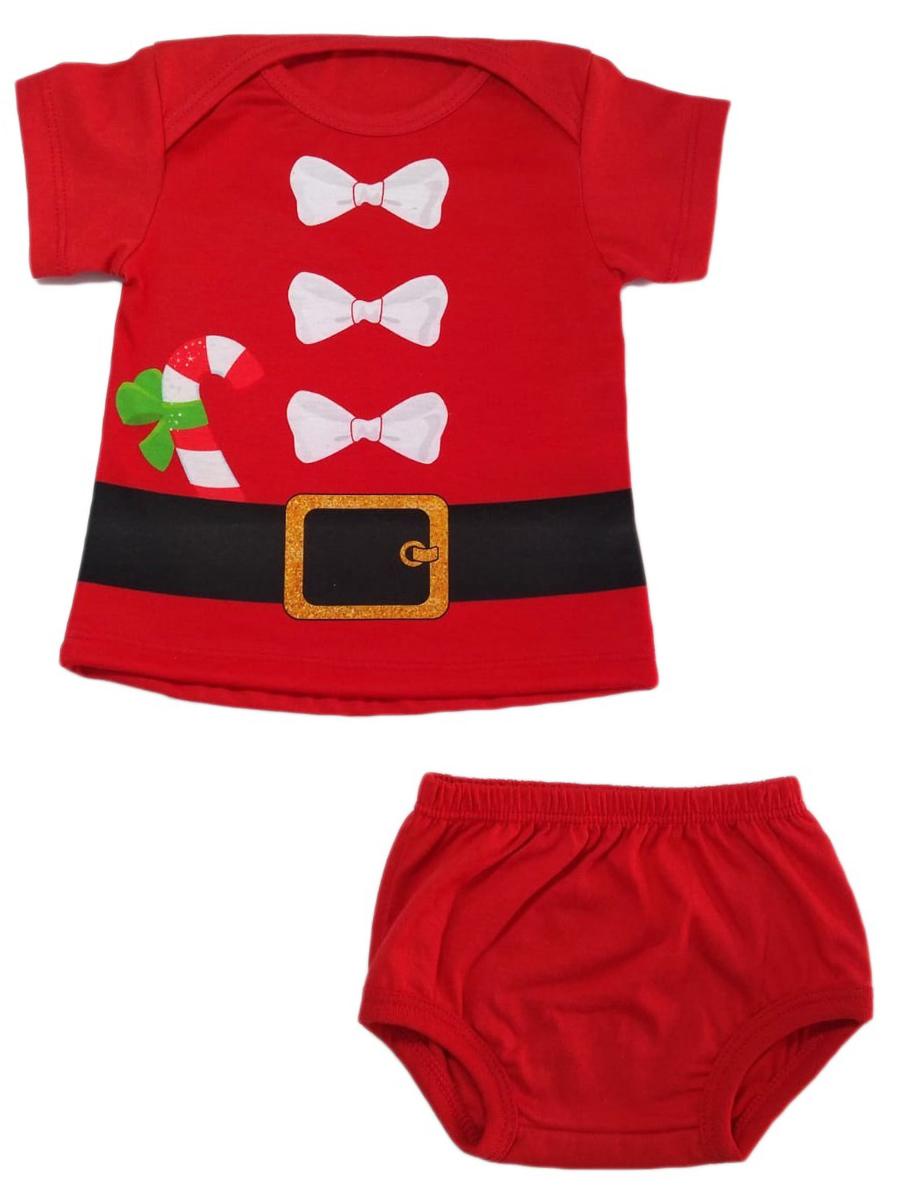 Vestido Bebê Natal Com Tapa Fralda