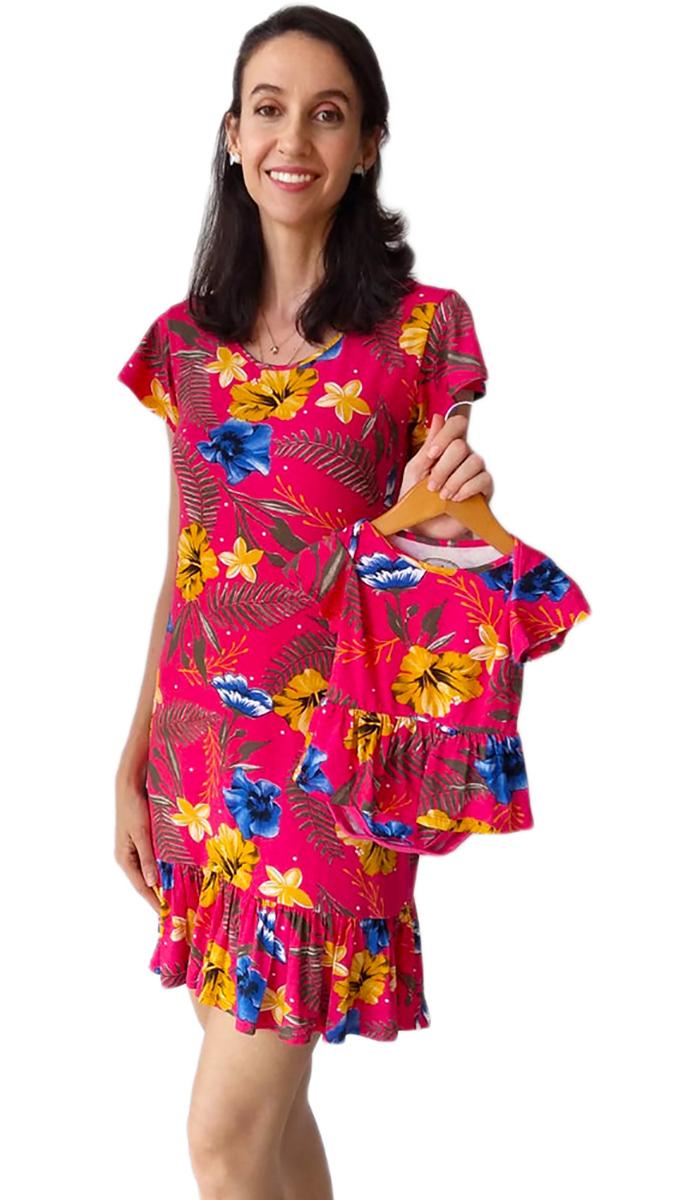 Vestido e Body de Bebê Floral com Babado Tal Mãe Tal Filha
