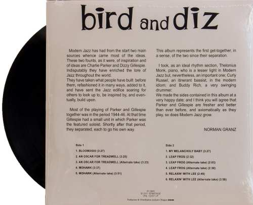 Lp Vinil Charlie Parker& Dizzy Gillespie Bird And Diz