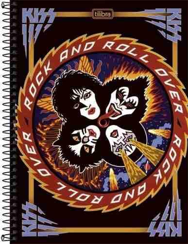Caderno Tilibra Kiss 10 Matérias 200 Folhas Rock N Roll Over