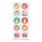 Adesivo Redondo Festa Tropical Flamingo - 30 unidades - Cromus