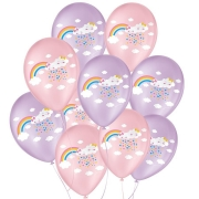"""Balão de Festa Decorado Chuva de Amor - Rosa 9"""" 23cm - 25 Unidades"""