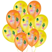 """Balão de Festa Decorado Lhama Amarelo e Laranja - Sortido 9"""" 23cm - 25 Unidades"""