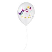 """Balão de Festa Decorado Unicórnio - Branco e Colorido 9"""" 23cm - 25 Unidades"""