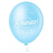"""Balão de Festa Estampado É Menino - 10"""" 25cm - Pic Pic"""