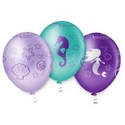 """Balão de Festa Estampado Sereia Encantada Sortido - 10"""" 25cm - Pic Pic"""