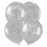 """Balão de Festa Redondo Profissional Látex Decorado - 11"""" 28cm - Happy New Year - 25 Unidades"""