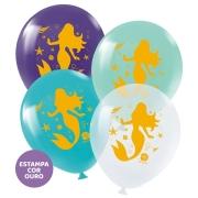 """Balão de Festa Redondo Profissional Látex Decorado 11"""" 28cm - Sereia - 25 Unidades"""