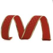 Fita Veludo Quadriculada Vermelho e Ouro 6,3 cm - 01 unidade - 10 metros
