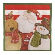 Guardanapo de Papel Noel, Rena e Boneco de Neve 32,5cm - 20 folhas - Cromus Natal