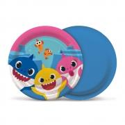 Prato Descartável Festa Baby Shark - 08 unidades - Cromus