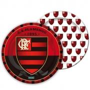 Prato Descartável Festa Flamengo - 8 unidades - Festcolor