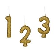 Vela Glitter Dourado - Números - 01 unidade  Regina