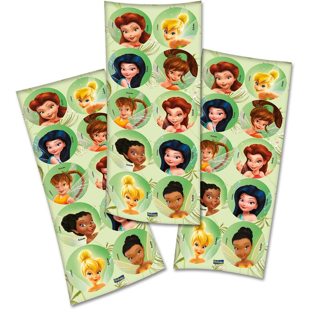 Adesivo Redondo Festa Fadas Disney - 30 unidades - Festcolor