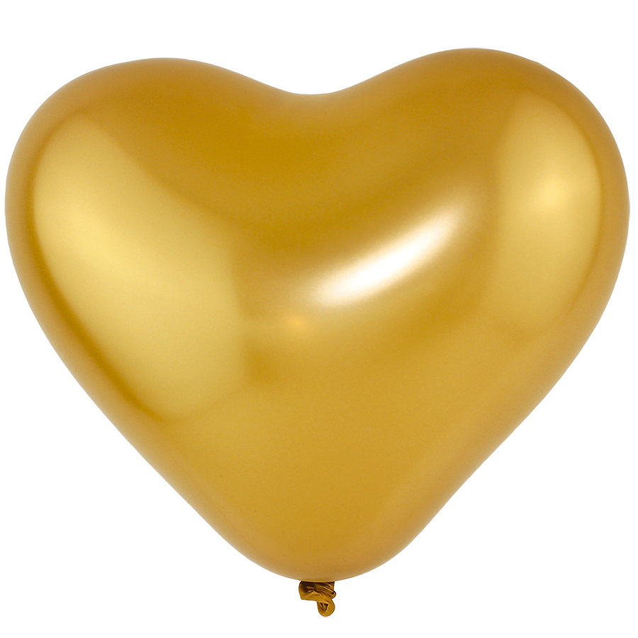 """Balão Coração Látex Cromado - Cores - 6"""" 15cm - 25 Unidades"""