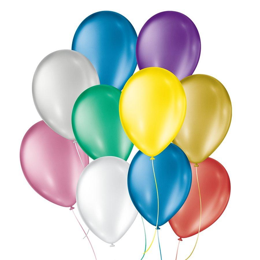"""Balão de Festa Cintilante - Cores - 09"""" 23cm - 50 Unidades"""