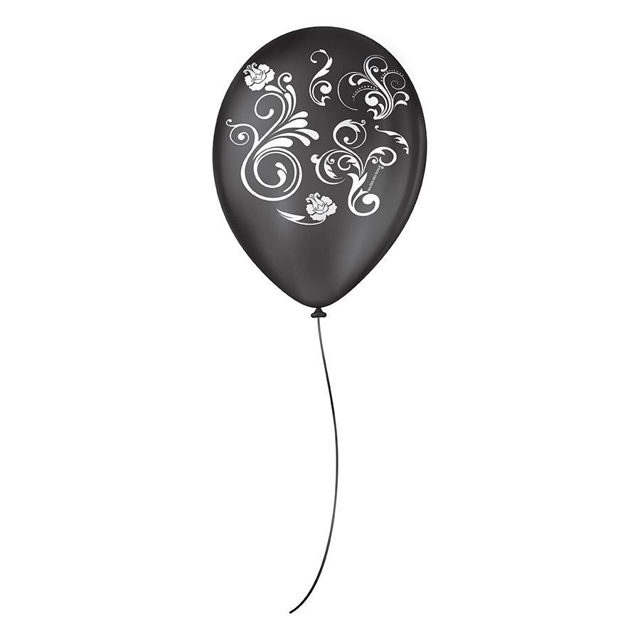"""Balão de Festa Decorado Arabesco - 9"""" 23cm - 25 Unidades"""