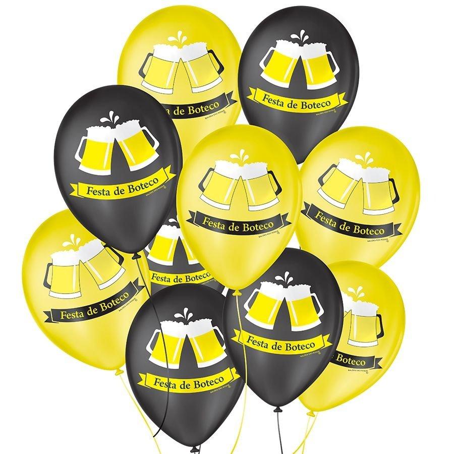 """Balão de Festa Decorado Boteco - Amarelo e Preto 9"""" 23cm - 25 Unidades"""