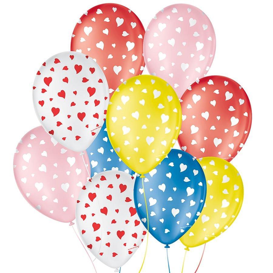 """Balão de Festa Decorado Coração - Cores - 9"""" 23cm - 25 Unidades"""