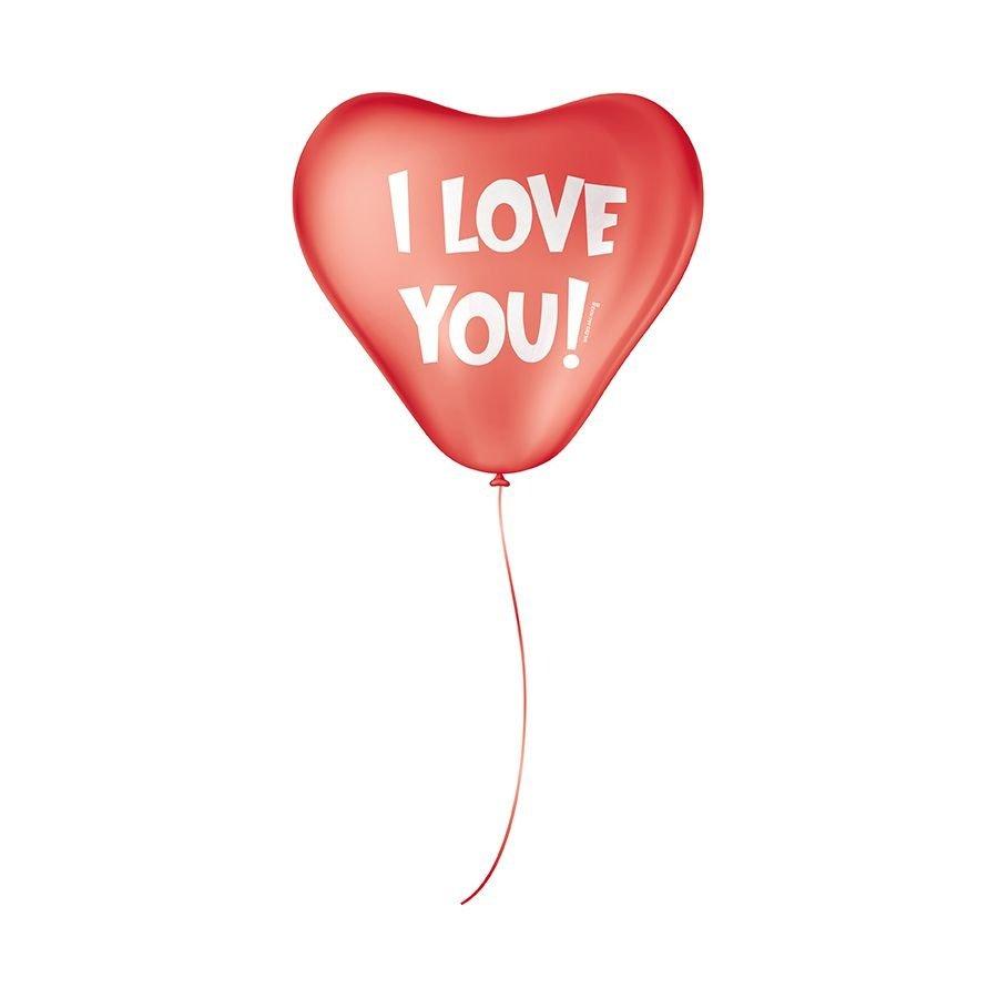 """Balão de Festa Decorado Coração - I Love You - 11"""" 28cm - 25 Unidades"""