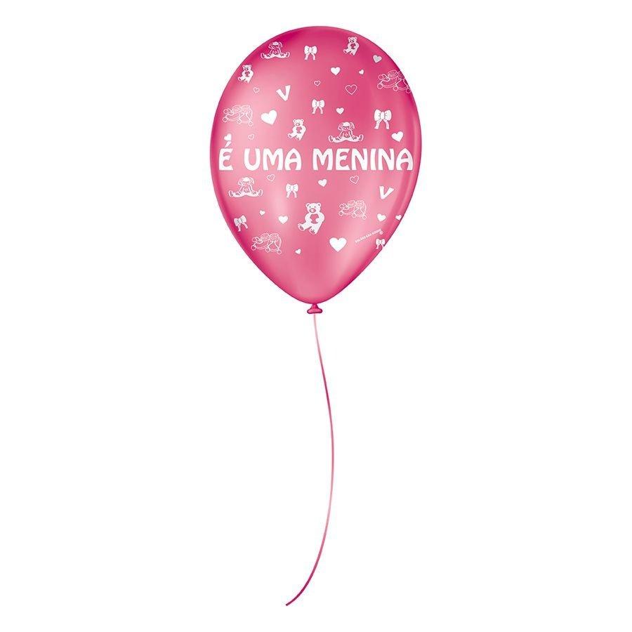 """Balão de Festa Decorado É uma Menina - Rosa Pink e Branco 9"""" 23cm - 25 Unidades"""