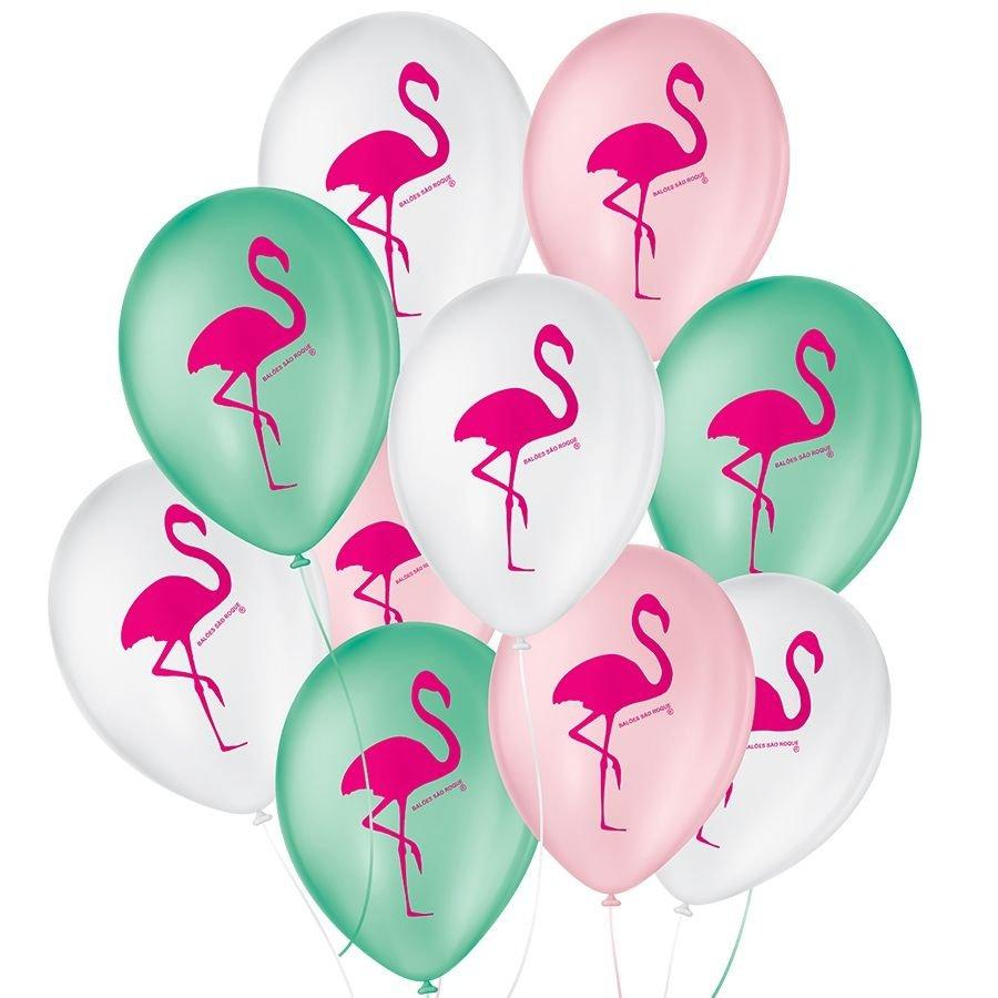 """Balão de Festa Decorado Flamingo - Sortido 9"""" 23cm - 25 Unidades"""