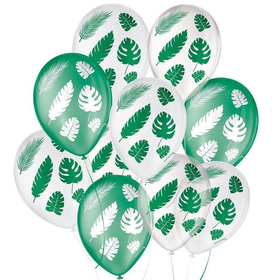 """Balão de Festa Decorado Folha Tropical - Sortido 9"""" 23cm - 25 Unidades"""