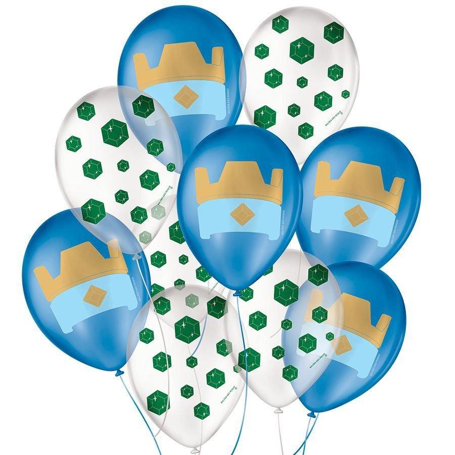 """Balão de Festa Decorado Jogos Royal - Sortido 9"""" 23cm - 25 Unidades"""