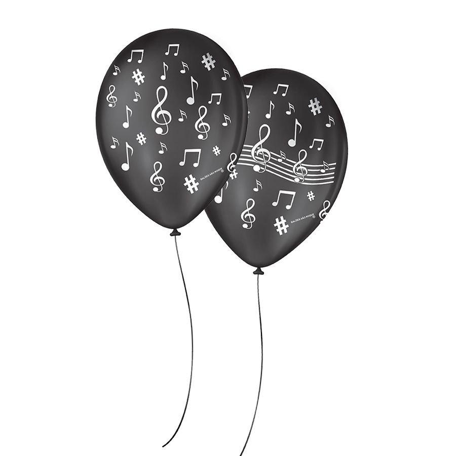 """Balão de Festa Decorado Notas Musicais - 9"""" 23cm - 25 Unidades"""